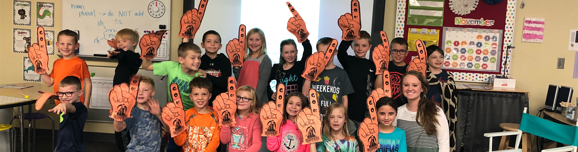 Grade 2He celebrates their Quarrier Pride in support of the football State Championship on Nov. 8.