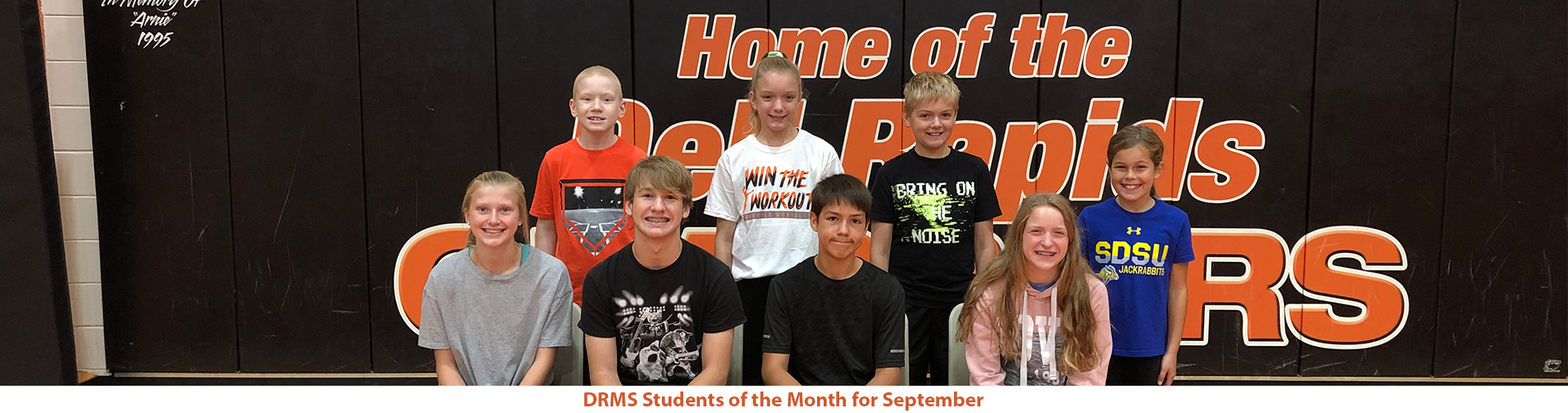 Picture of the middle school students of the month for September.