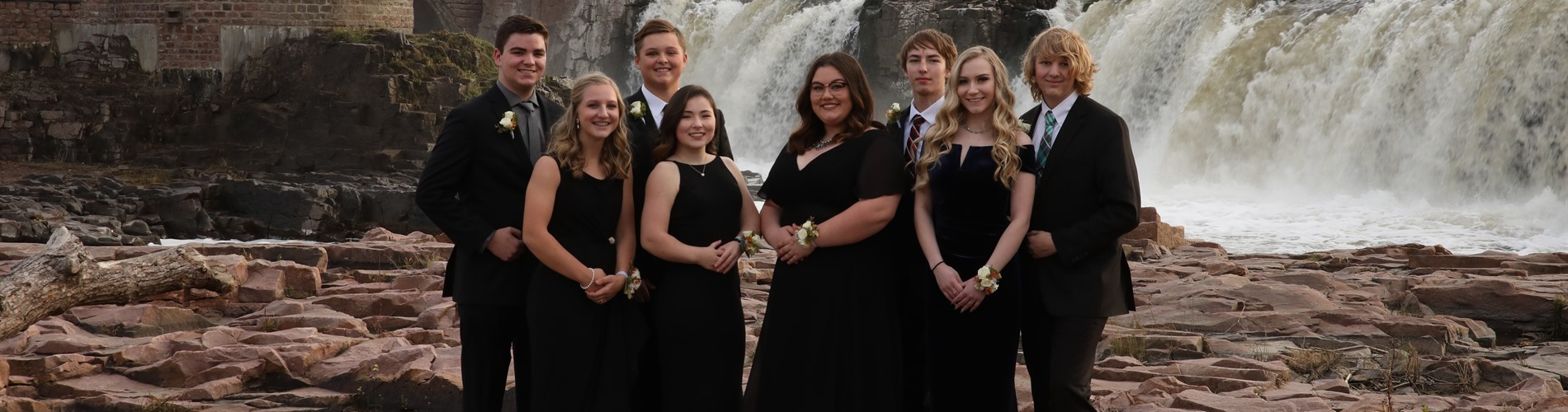 Pictured in Sioux Falls at Falls Park are the All-State Choir Quartets.